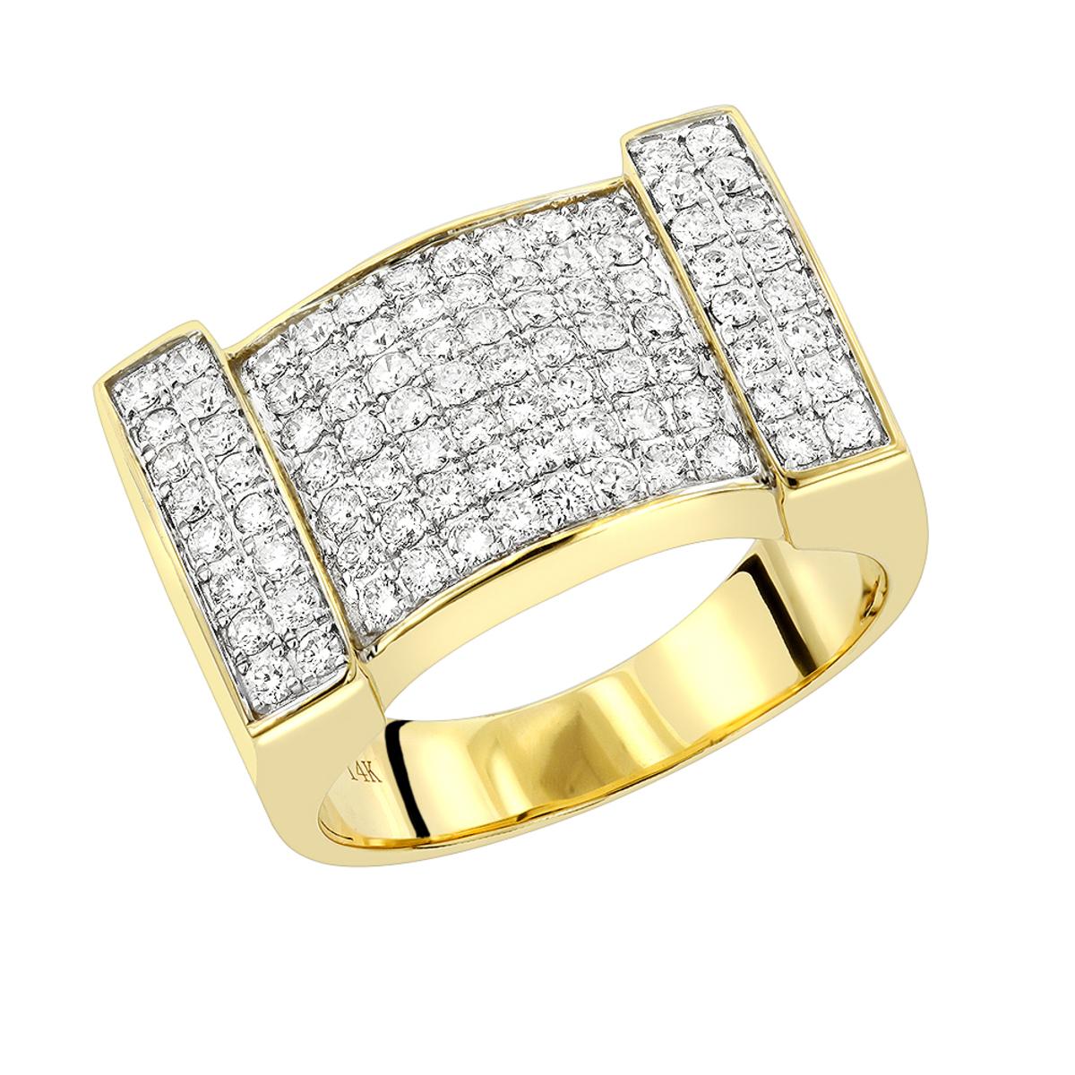 Mens Diamond Gold Ring by Luxurman 1.5ct 14K