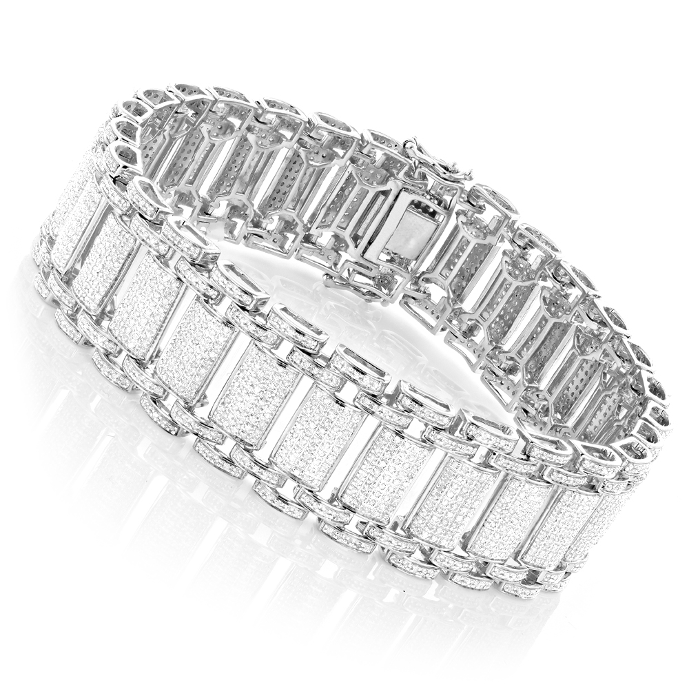 Mens Diamond Bracelet in Sterling Silver 5 carats