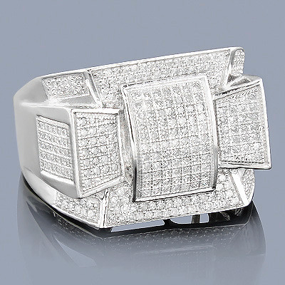 Mens Diamond Ring 14K 0.99ct