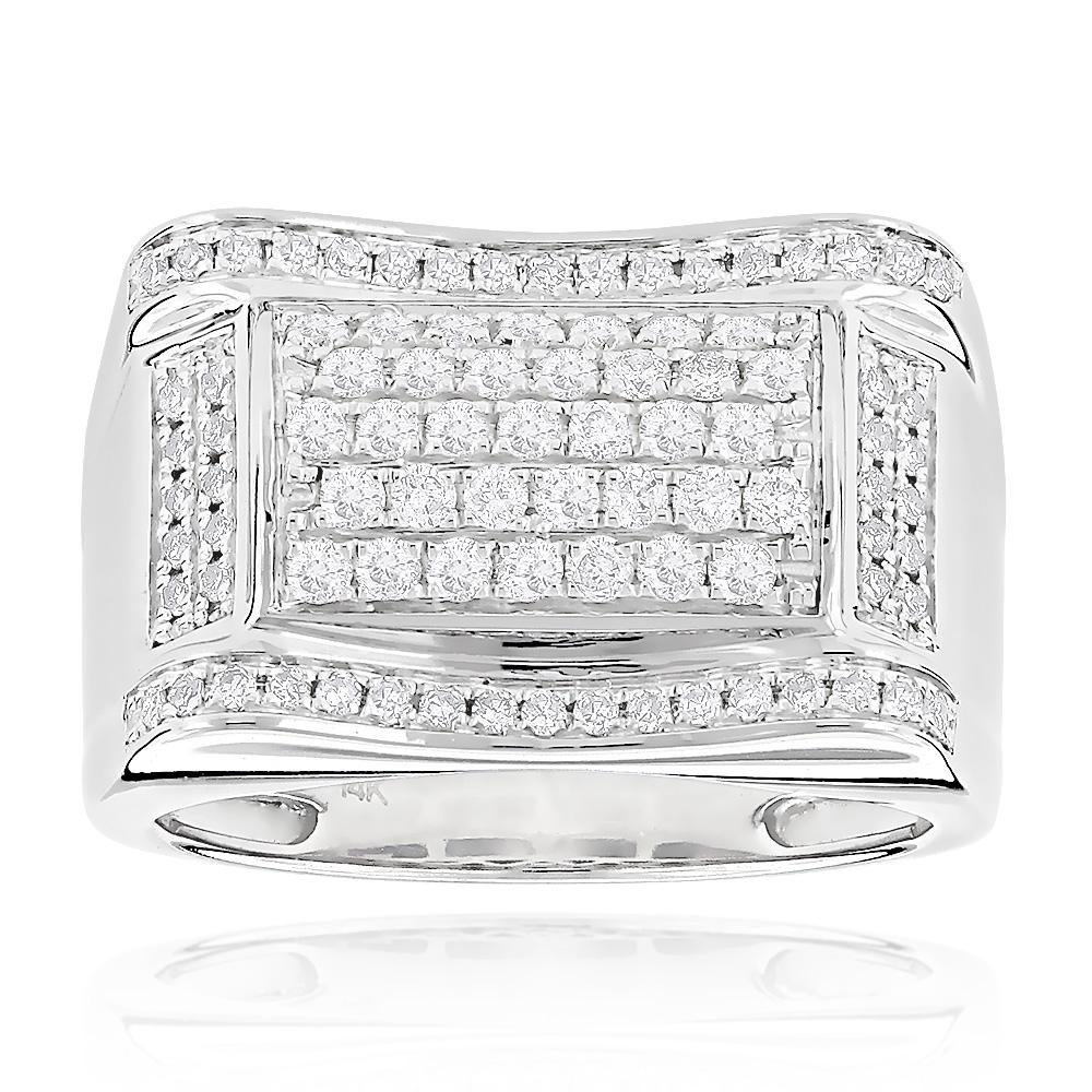 Mens Diamond Ring 14K Gold 1ct by Luxurman