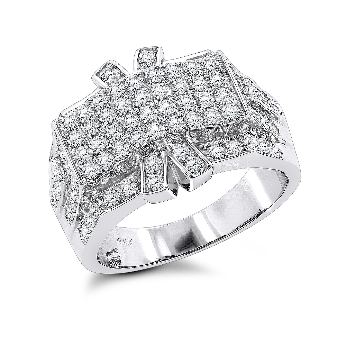 Mens Diamond Ring 2.35ct 14K Gold