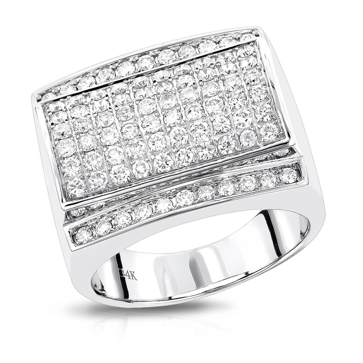 Mens Diamond Ring by Luxurman in 14K Gold 1.8ct