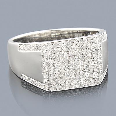 Mens Diamond Ring Sterling Silver 0.72ct