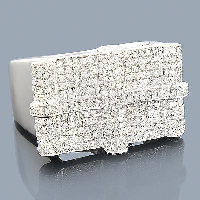 Mens Diamond Ring Sterling Silver 1.52ct