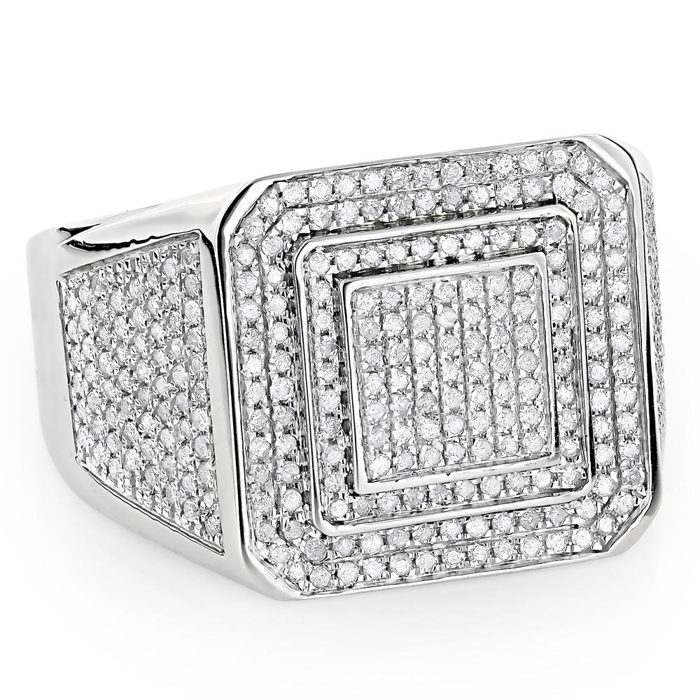 Mens Diamond Rings 10K Gold 1 ct Pinky Ring