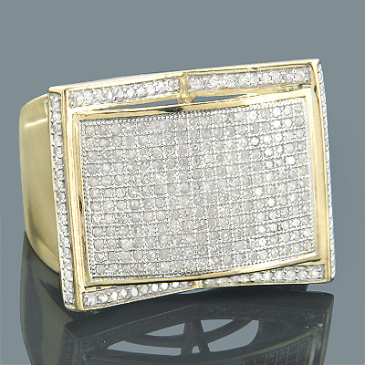 Mens Diamond Rings 10K Gold Round Diamond Ring 1.22ct