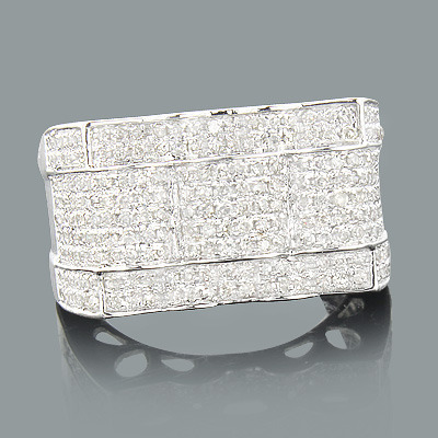 Mens Diamond Rings: 14K Gold Ring 1.12ct