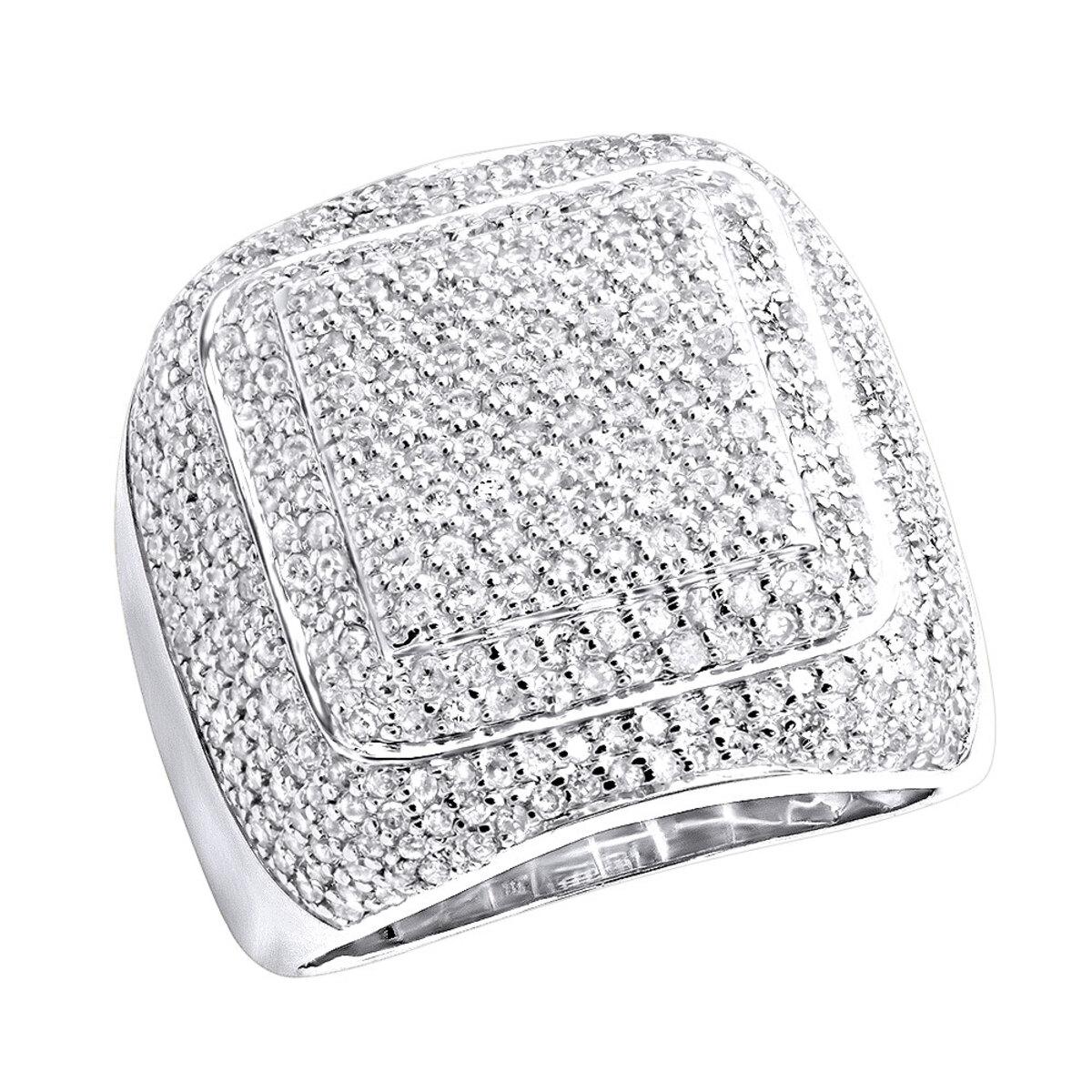 Mens Diamond Rings 14K Gold Square Ring 3.44ct