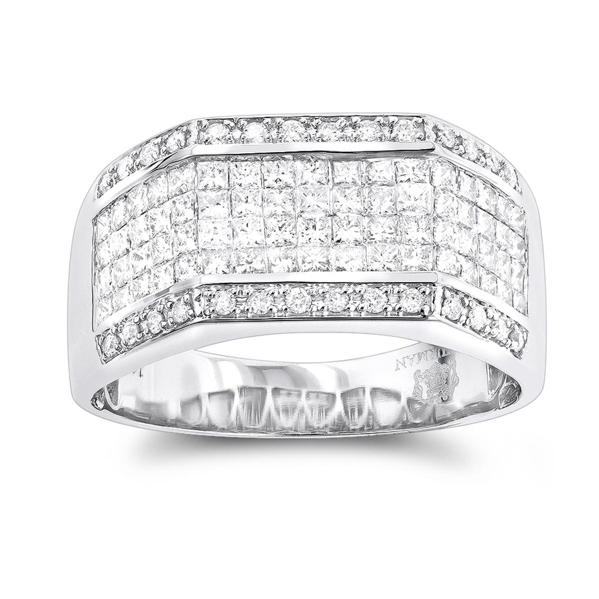 Mens Diamond Rings 14K Round Princess Diamond Ring 2.52