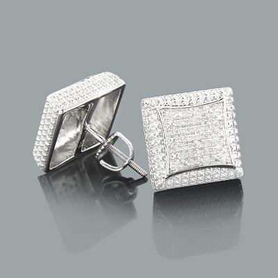 Mens Diamond Stud Earrings 0.17ct Sterling Silver