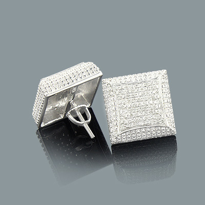 Mens Diamond Stud Earrings 0.21ct Sterling Silver