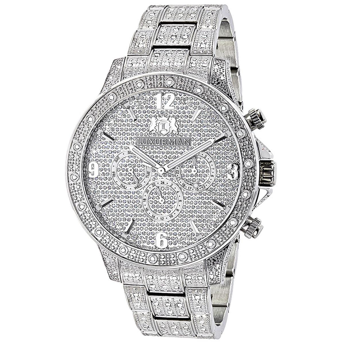 Mens Diamond Watches Fully Iced Out Watch 1.25ct Luxurman Liberty Swiss Mvt