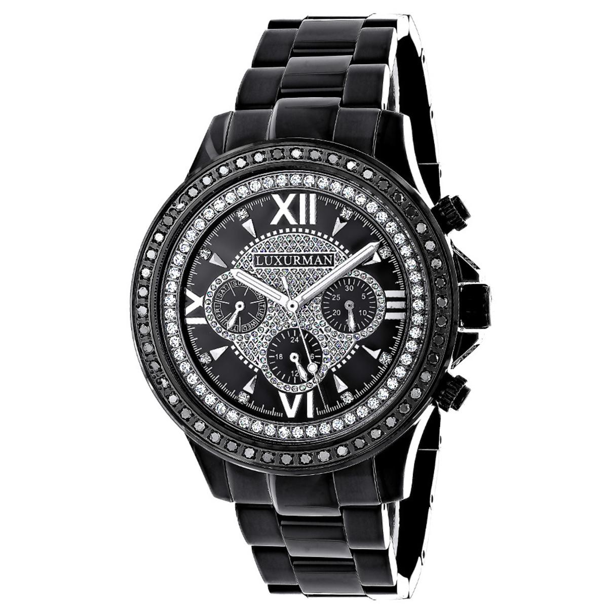 Mens Diamond Watches: Luxurman Black Diamond Watch 2ct Liberty
