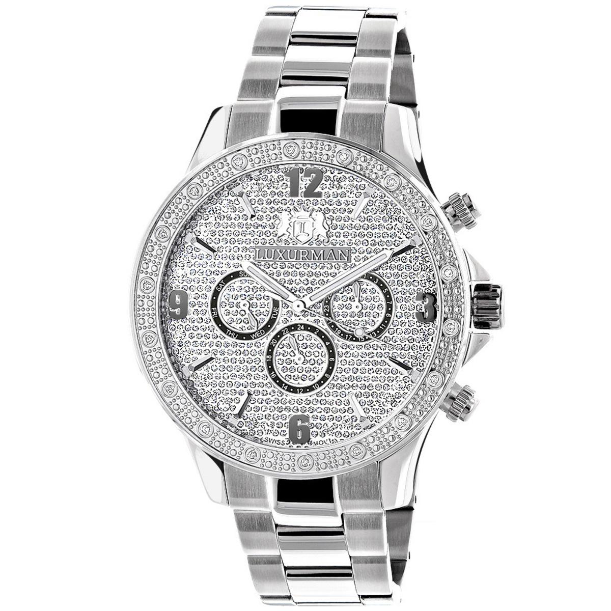 Mens Diamond Watches: Luxurman Midsize Watch 0.2ct