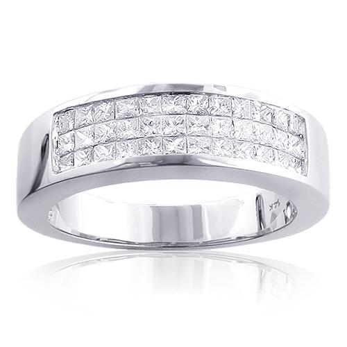 Mens Diamond Wedding Band 1.5ct 14K Gold Invisible Set Princess Cut