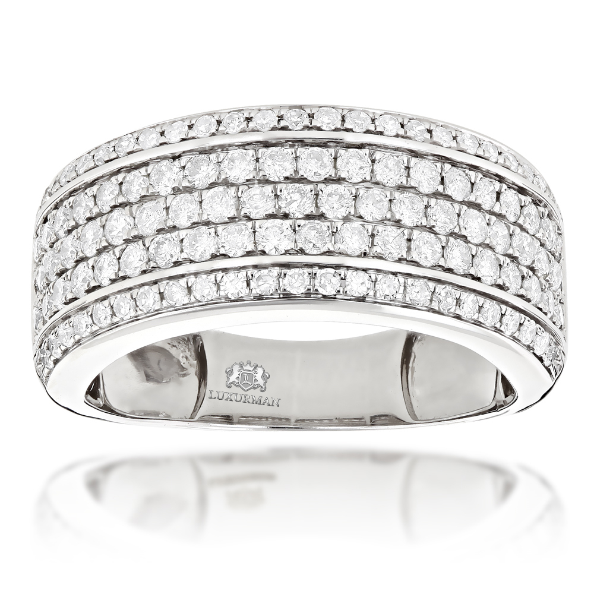 Mens Diamond Wedding Band Designer Ring by Luxurman 1.5ct