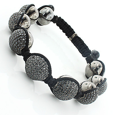 Mens Disco Ball Jewelry: Black Stones Bracelet