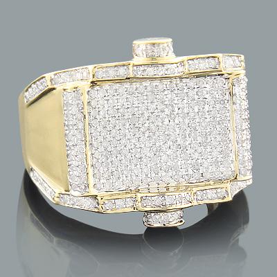 Mens Gold Diamond Ring 1.11ct 10K