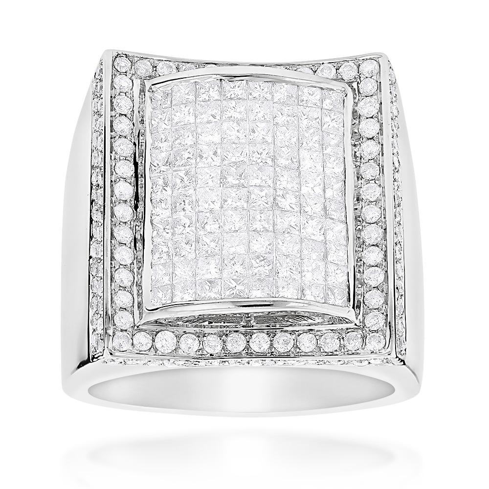 Mens Gold Ring with Princess Cut Round Diamonds 3.67ct 14K