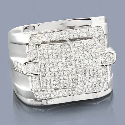 Mens Hip Hop Diamond Ring 1.01ct Sterling Silver