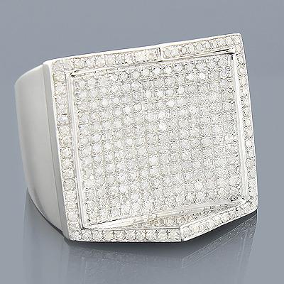 Mens Hip Hop Diamond Ring 1.38ct Sterling Silver