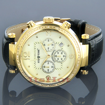 Mens Ice Time Diamond Watch 0.20ct Yellow