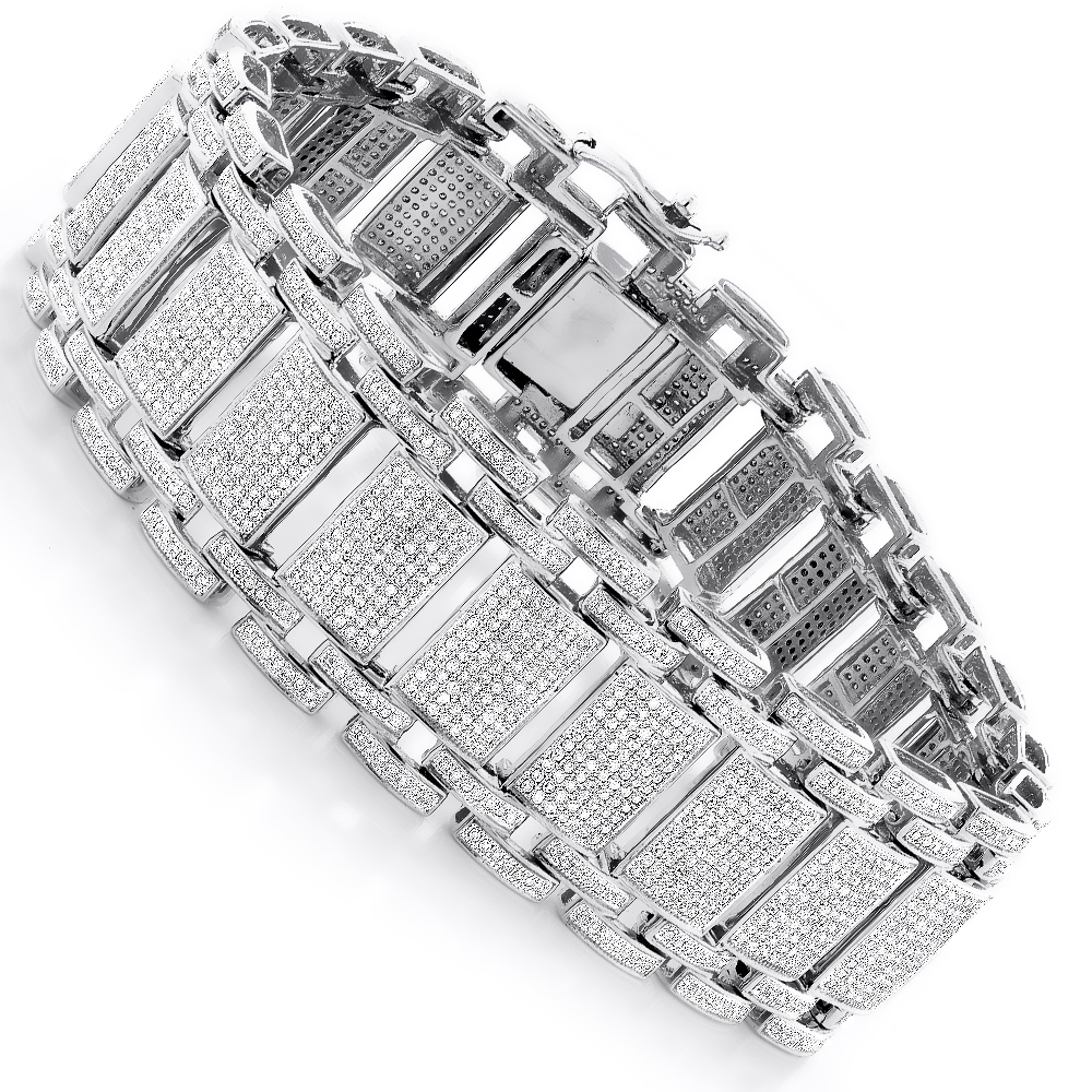 Mens Iced Out Pave Diamond Bubble Bracelet 8ct 10k or 14k Gold