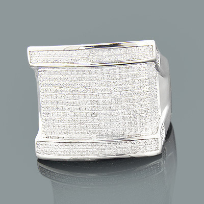 Mens Large Silver Ring with Diamonds 0.79ct