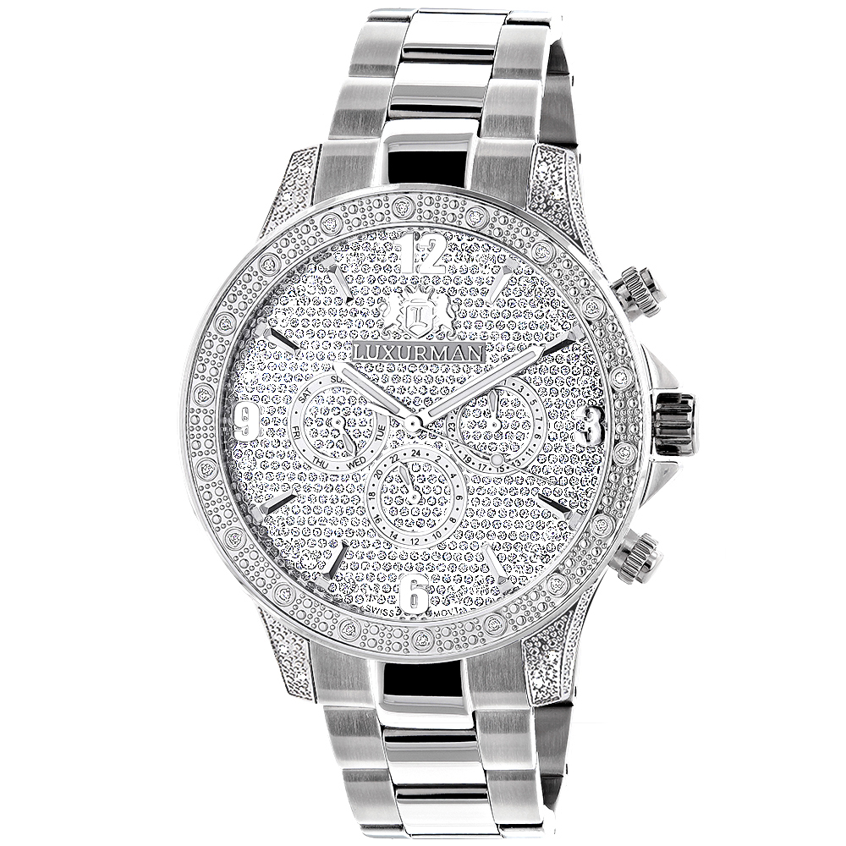 Mens Luxurman Diamond Watch 0.5ct Liberty Swiss Quartz