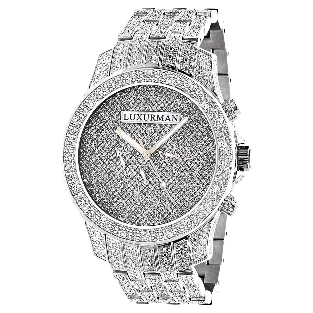 Mens Luxurman Watches: Real Diamond Watch 1.25ct