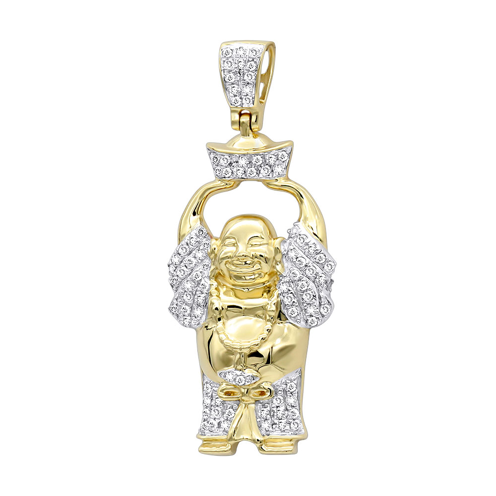 Mens mini laughing buddha pendant with diamonds in real 10k gold 033ct mozeypictures Images