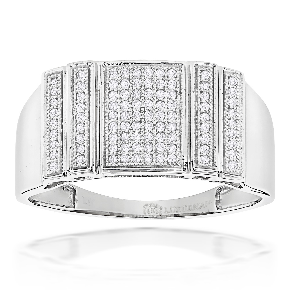 Mens Pave Diamond Ring 0.32ct Solid Gold