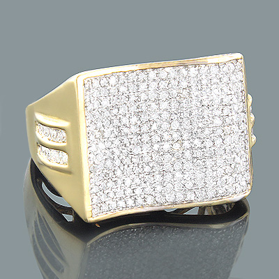 Mens Pave Diamond Ring 1.08ct 14K Gold