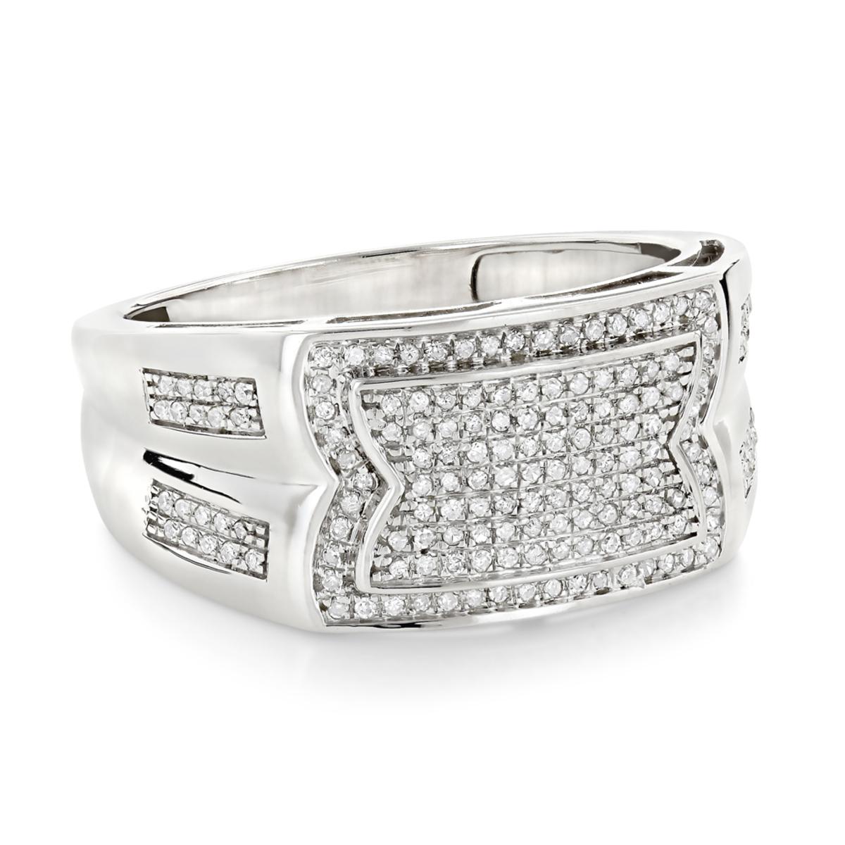 Mens Pave Diamond Ring 10K Gold Wedding Band 0.45ct
