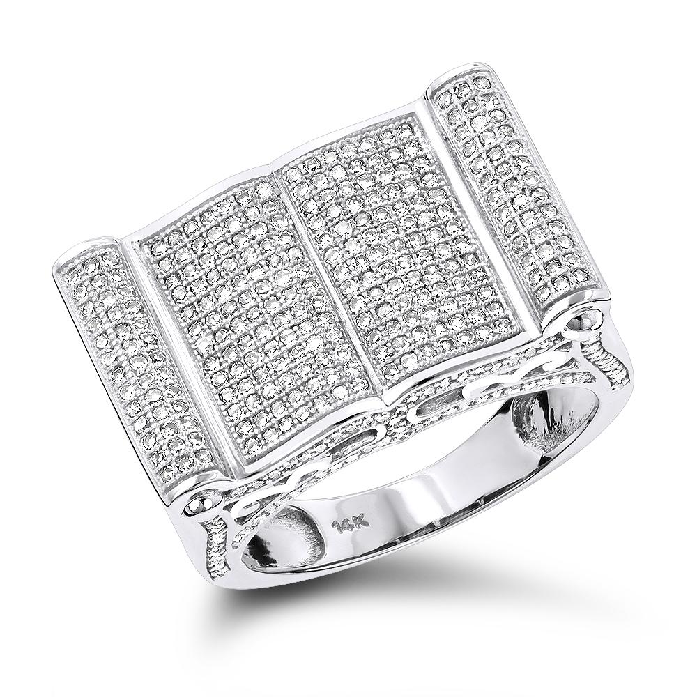 Mens Pave Diamond Ring 14K 1.52ct