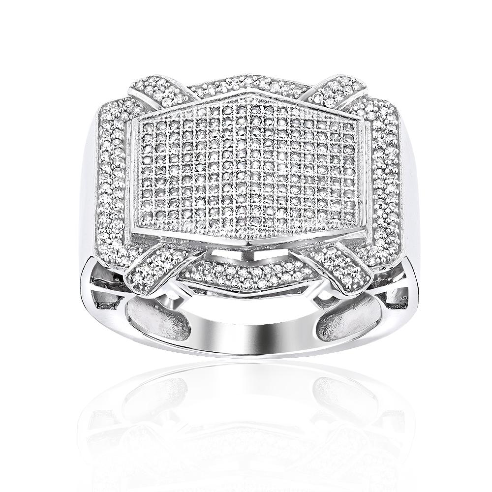 Mens Pave Diamond Ring 14K Gold 1.09ct