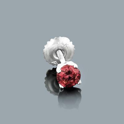 Mens Pink Diamond Stud Earring 0.30ct 14K Gold Single