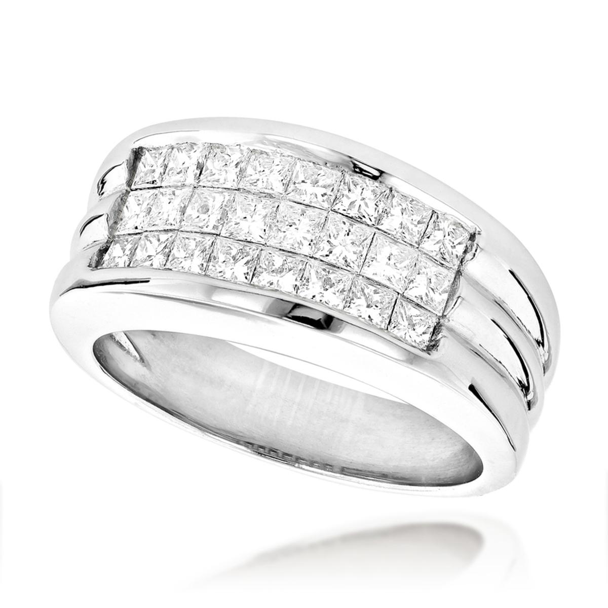 Mens Platinum Diamond Band Invisible Set Princess Cut Pinky Ring 2ct