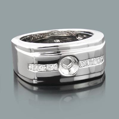 Mens Princess Cut Diamond Ring Mounting 0.42ct 14K Gold