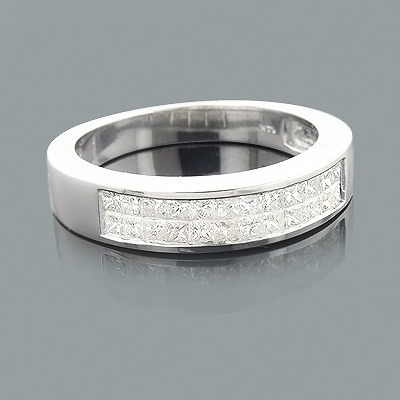 Mens Princess Cut Diamond Wedding Ring 1.39ct 14K