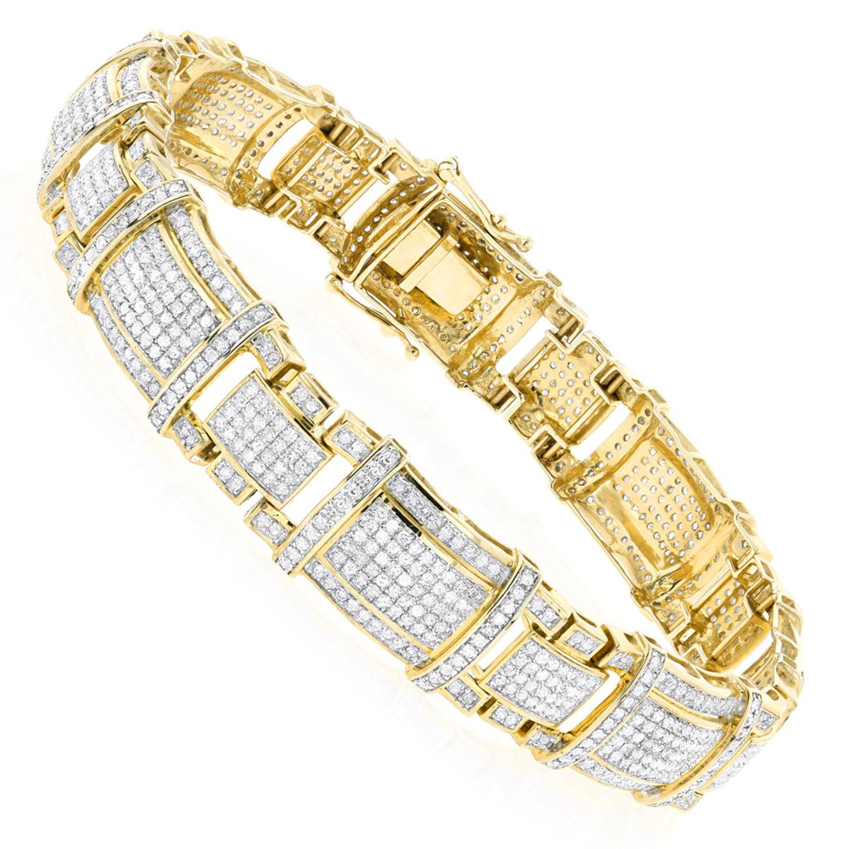 Mens Real Diamond Bracelet 10K Gold 4ct