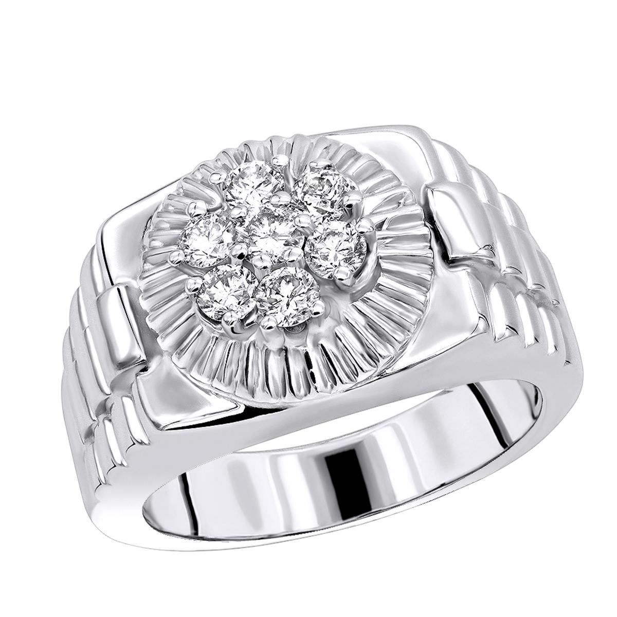 Mens Rings 14K Gold Rolex Style Mens Diamond Ring .95ct