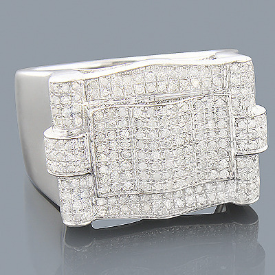 Mens Silver Diamond Ring 0.91ct
