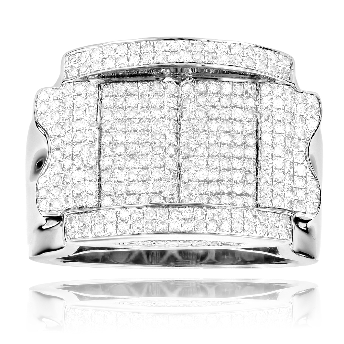 Mens Silver Diamond Ring 1.57ct