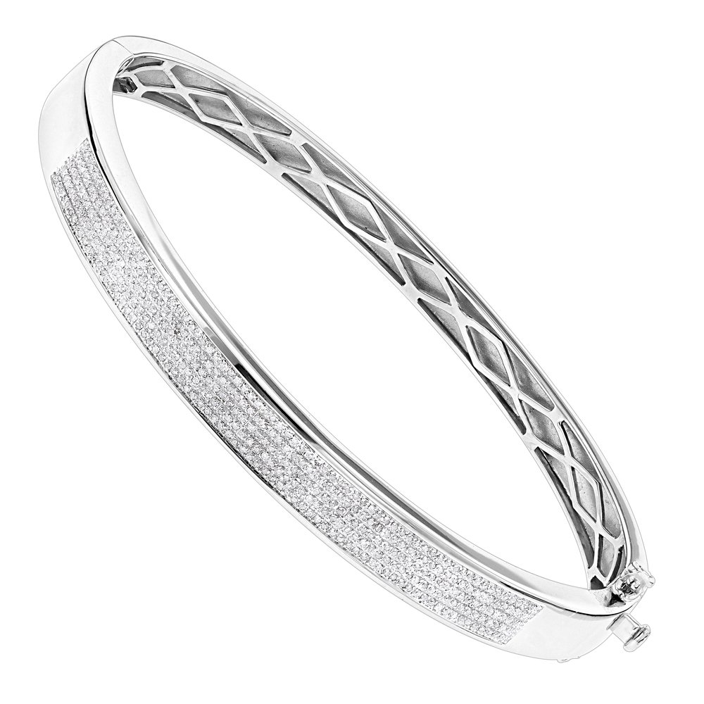 Mens Silver Jewelry: Affordable Diamond Bangle Bracelet 0.75 ct