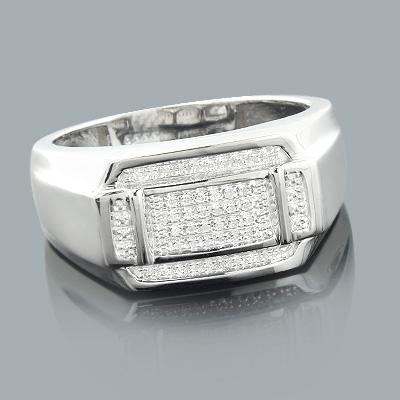 Mens Silver Rings: Affordable Mens Diamond Ring 0.11ct