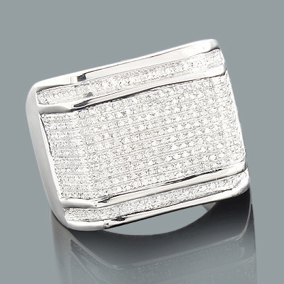 Mens Silver Rings: Affordable Mens Diamond Ring 0.88ct