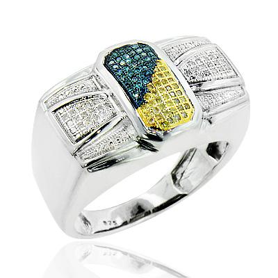 Mens Silver Rings: White Blue Yellow Diamond Ring 0.30ct