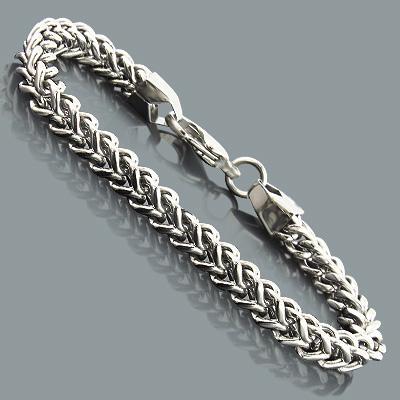 """Mens Stainless Steel Franco Bracelet 7mm 8"""""""