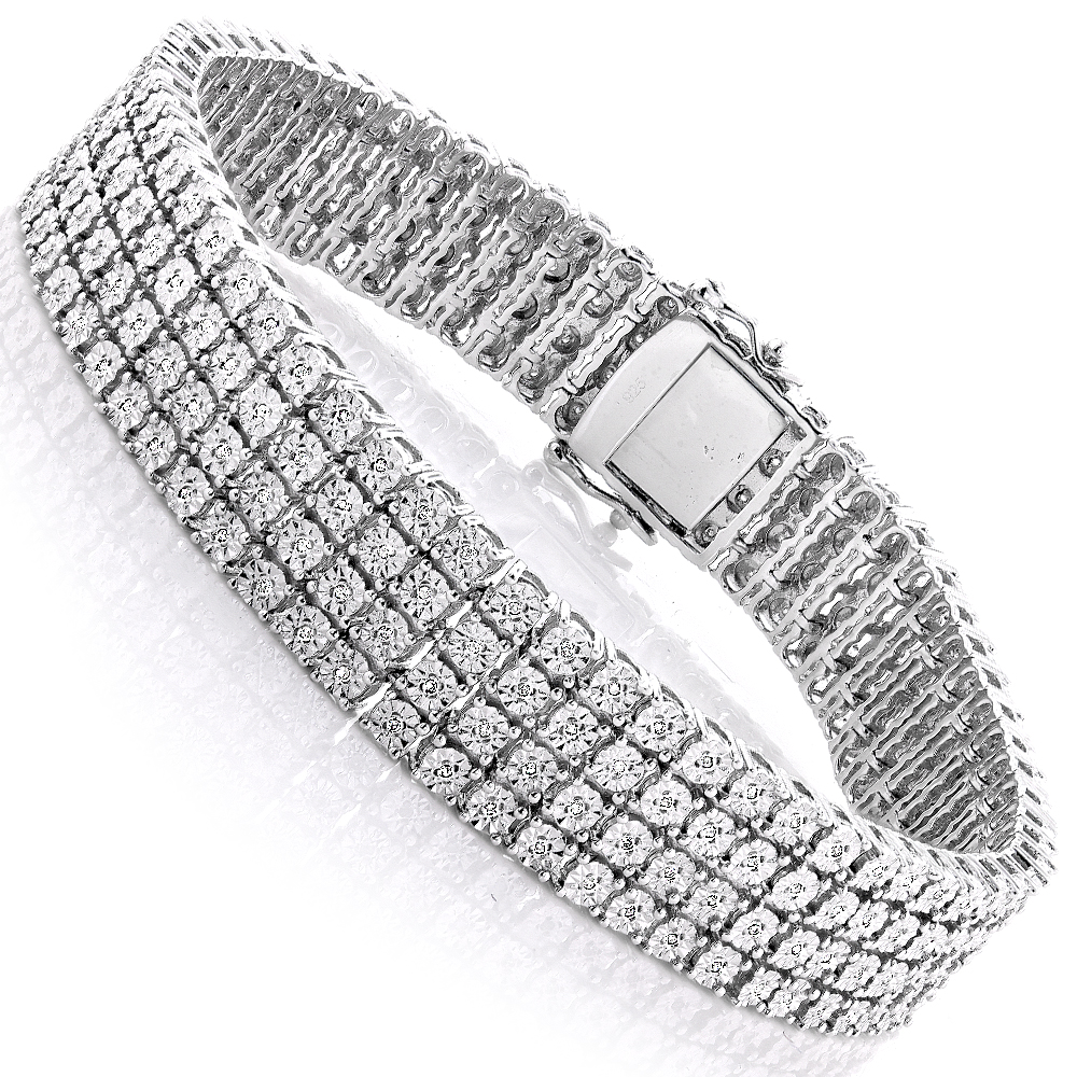 Mens Sterling Silver Bracelets: 4 Row Diamond Bracelet 0.63ct